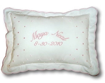 Personalized Swiss Dot Baby Pillow
