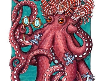 Knotts Limited Edition Fantasy Steampunk Octopus Print - MATTED mauve/white