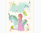 Princess wall art,  Unicorn wall art, art for girls room, Nursery wall decor for girls