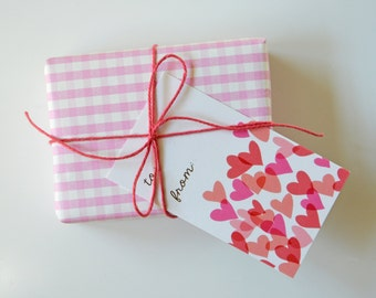 Gift Tags, hearts present card