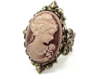 Neo Victorian Cameo Ring in Rose Gold Shimmer with Antiqued Brass Filigree Ring Band - By Ghostlove