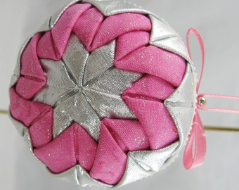 Pink and Silver Quilted Chrismas Ornament 324