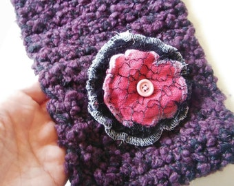 Purple and Black Crocheted Neckwarmer with Handmade Recycled Sweater Flower