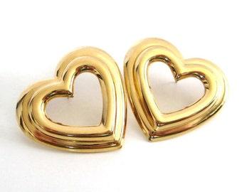 Vintage 80's Avon // Gold Heart Post Earrings