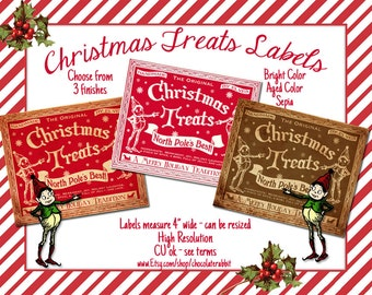 Candy Labels Christmas Treats Tag Digital Download Printable Collage Sheet Clip Art Vintage Style