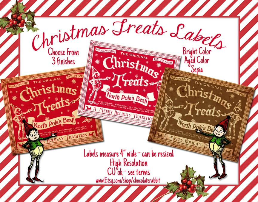candy labels christmas treats tag digital download printable