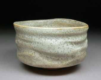 Handmade Stoneware Matcha Chawan Teabowl Tea Ceremony Glazed with Carbon Trap Shino