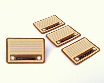 Radio (Brown) Felt Applique (Set of 4 pieces)