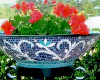 Mosaic Ice Bucket and Plant Stand - Party Bowl holds 30 bottles and plant stand, party ice bucket with stand