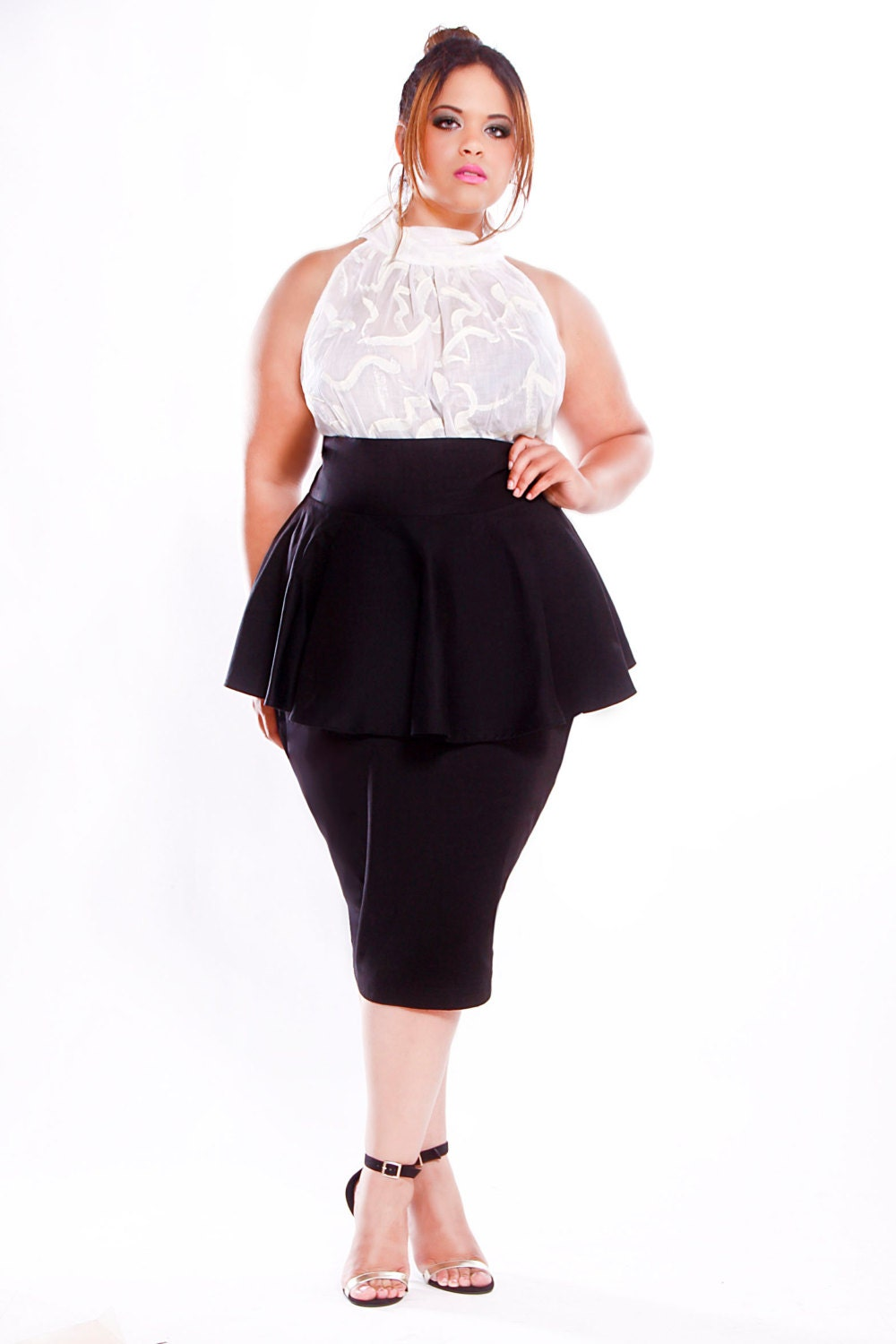 jibri plus size high waist pencil skirt w peplum by