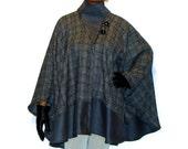 OOAK Grey Color Block Wool Cape  Wool Poncho Cape Coat Womens Wool Poncho Cape Grey Wool Poncho Grey Cape  Poncho For Women Grey Cape Jacket