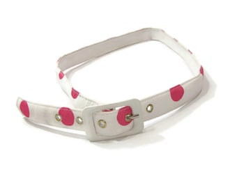 Pink and White Polka Dot Fabric Belt Skinny Belts For Women Fabric Belts For Women Belts and Accessories Skinny Pink Belt Polka Dot Belt
