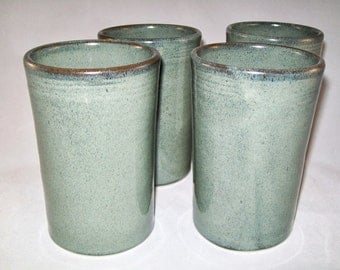 Slate Grey Tumblers Set of 2 --  Large Handmade Stoneware pottery tumbler cups