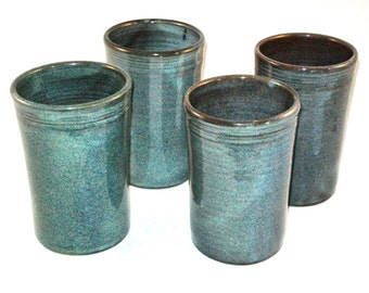 Twilight Glaze Tumblers Set of 4 --  Large Handmade Stoneware pottery tumbler cups