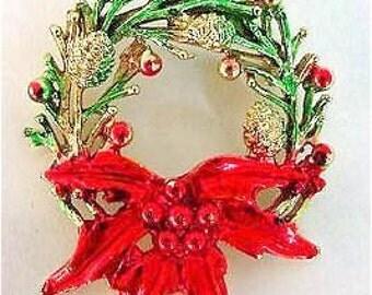 Vintage Christmas Holiday Wreath Pin