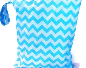 Wet Bag, waterproof washable wetbag, you pick size, chevron wet bags for cloth diapers, swimsuits
