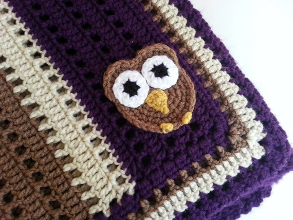 Crochet Owl Baby Blanket : Crochet Owl Baby Blanket in Purple, Brown and Ivory- Handmade Blanket ...