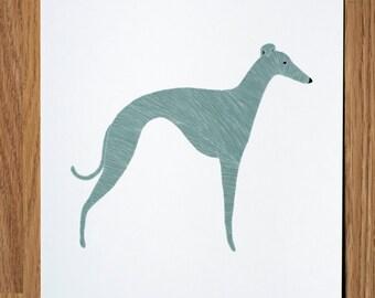Whippet Wall Art, Whippet Illustration, Gray Whippet Print, Dog Print, Dog Illustration, Dog Portrait, Pet Portrait, Personalized Pet Print