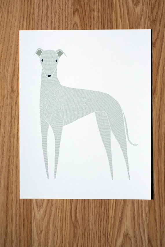 Greyhound Illustration - FREE US SHIPPING