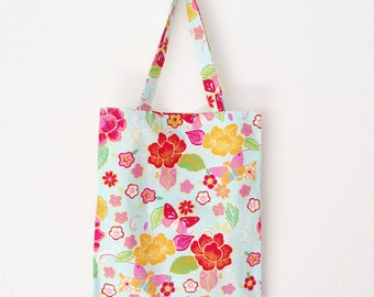 butterfly flower multicolored 100 % cotton shopper - tote bag