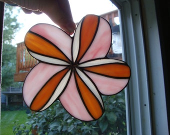Stained glass plumeria suncatcher
