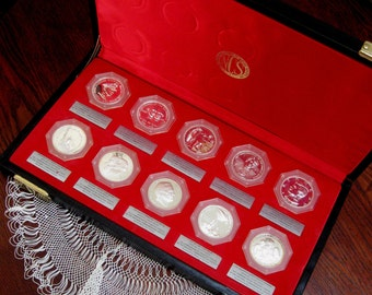 Vintage Sterling Silver Coins Medals National Commemorative Society Display Case Set of Ten Series 1
