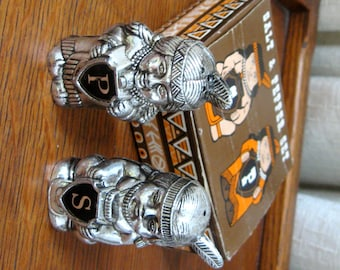 Vintage American Indian Salt And Pepper Shakers Original Box Silver Tone Plastic