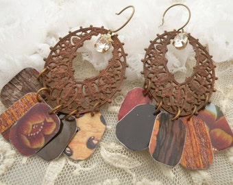rustic brown tin earrings assemblage fall charm eco friendly rustic upcycle