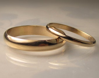 Gold Wedding Band Set, Recycled 14k Gold, 4mm and 2mm Half Round, Made to Order