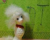 Enesco Ceramic Poodle Dog  Figurine with Fur.