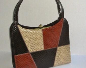 1960s Naturalizer Simulated Snake Skin Handbag.Vintage NATURALIZER Purse