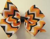 Single Orange Black and White Chevron  Hair Bow