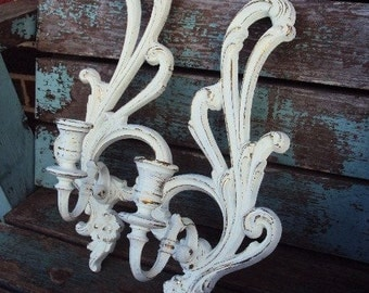Vintage Shabby Chic Candelabra Wall Sconce Set Candle Holder Repurposed Distressed Chippy