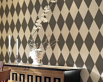Harlequin Allover Stencil - Large - Reusable stencils for  DIY wall decor - better than wallpaper!