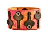 Vintage Keys  Leather Cuff Cuffs Bracelets Wristbands Mother's Day Unique Original Handmade Jewellery Belt Bracelet Coupon Code Sale