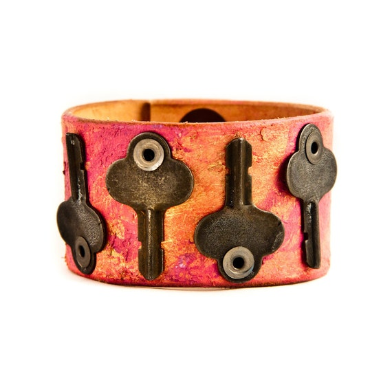 Vintage Keys  Leather Cuff Cuffs Bracelets Wristbands Mother's Day Unique Original Handmade Jewellery Belt Bracelet Coupon Code Sale
