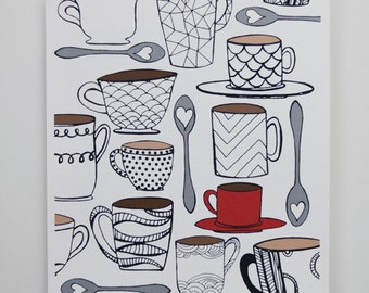 CHOOSE your COLOR MUG 8 x 10 Art Print, Coffee, Tea, I love coffee, I love tea, Coffee Lover, Tea Lover