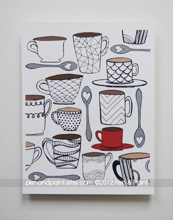 CHOOSE your COLOR MUG 8 x 10 Art Print, Coffee, Tea, I love coffee, I love tea, Coffee Lover, Tea Lover