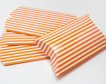 Heavyweight Chipboard Small Orange Striped Pillow Boxes - set of 12 - Great for gifts or favors - 3 1/2 x 3 x 1 Inches