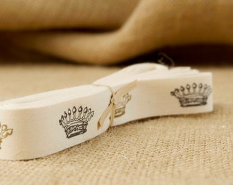 Vintage Royal Crowns on Cotton Creme Ribbon - 3/4 Inch Width - Packaging and Gift Ribbon 5 yards