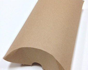 DIY Brown Large Size Kraft Pillow Boxes - set of 100 - Perfect for Embellishing with Deco Tapes - 7 x 5 1/2 x 2 Inches