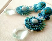 Statement aquamarine earrings  , Oversized earrings ,  turquoise studs earring ,  blue and opalite , fashion earrings