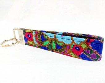 Blue Purple Pink Green Kaffe Fassett Fabric Key Fob Key Chain from Pinkys Pet Gear