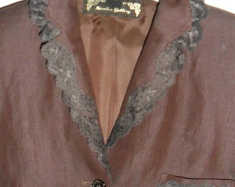 Steampunk  Governess Linen Jacket with Lace.Trim