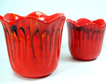 Fiery Orange Glazed Mid Century Modern Pottery Pots Planter USA
