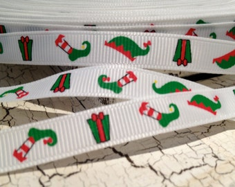 "3 YARDS 3/8"" Christmas Stocking Elf Present Grosgrain Ribbon"
