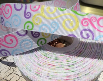 "7/8"" Easter Spring Glitter Swirl grosgrain ribbon sold by the yard"