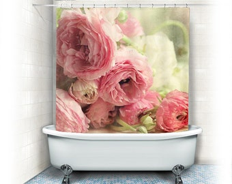 "Ranunculus Fabric Shower Curtain ""The First Bouquet"" white, pink,bathroom,home decor,pastel flowers,nature,floral shower curtain"