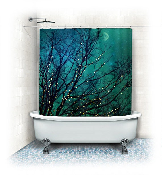 "Aqua Shower Curtain ""Magical Night"" clouds,lights,stars,sky, night ..."