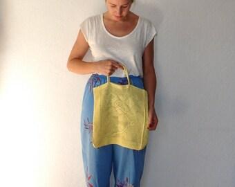 Crochet Bag Vintage Purse Rose Print